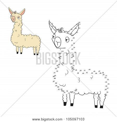 Connect the dots game lama vector illustration