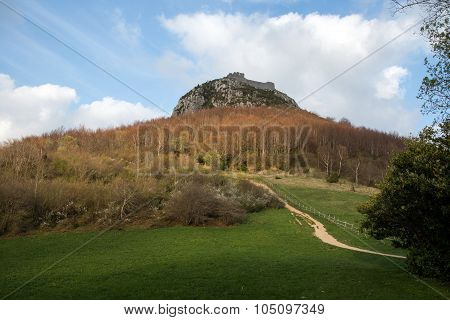 Montsegur Castle In  French Pyrenees