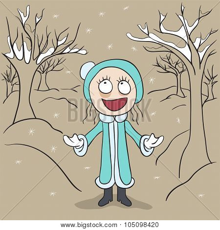 Girl in winter park rejoices first snow