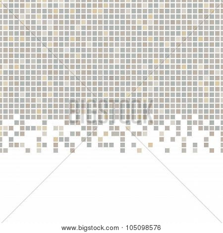 Gray, brown pattern made of squares with copy space. Pixel mosaic background