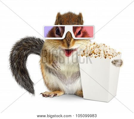 Funny Squirrel With Blank Popcorn Bucket And 3D Glasses Isolated On White