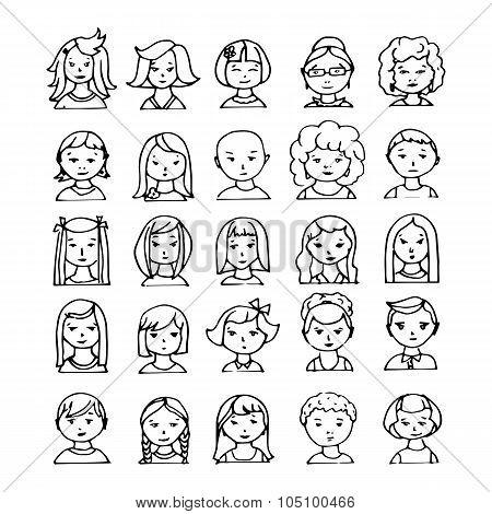 set of 25 hand drawn avatars. vector illustration
