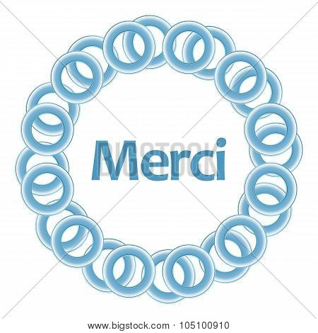 Merci Text Inside Blue Rings Circular