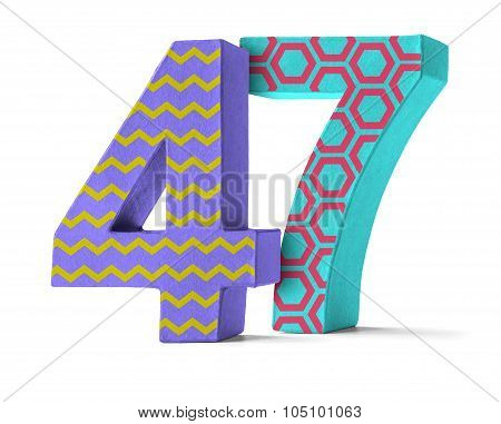 Colorful Paper Mache Number On A White Background  - Number 47