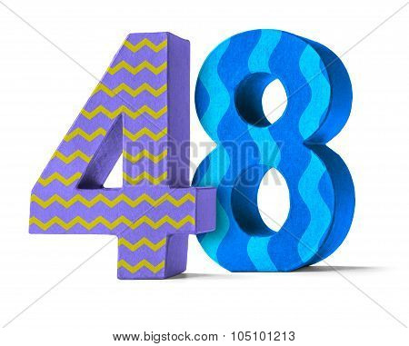 Colorful Paper Mache Number On A White Background  - Number 48