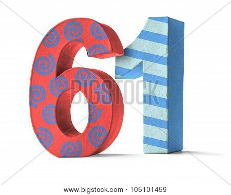 Colorful Paper Mache Number On A White Background  - Number 61