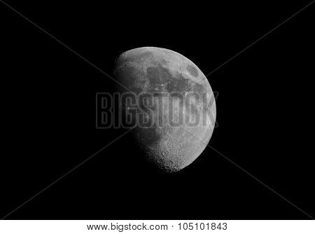 Black And White Gibbous Moon