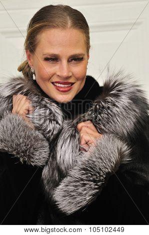 Fancy Lady Wearing A Fur Coat