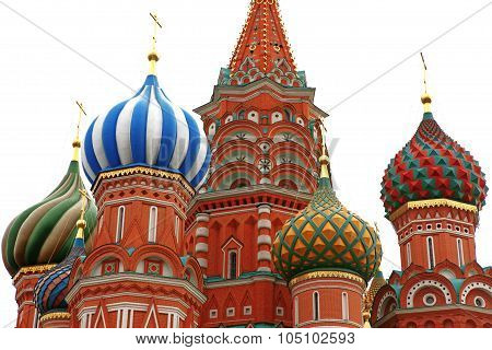 Dome Of Intercession Cathedral St. Basil's On Red Square Isolated On White Moscow, Russia