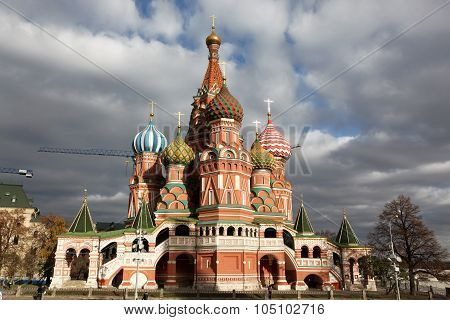 Famous View Of Intercession Cathedral St. Basil's On Red Square, Moscow, Russia