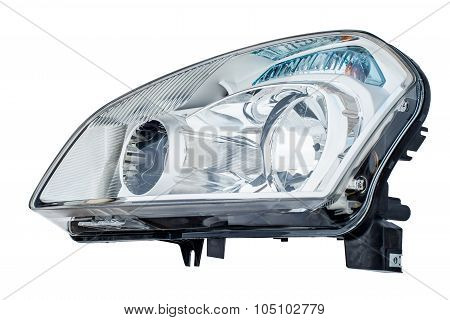 Car headlight on a white background