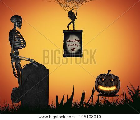 Halloween illustration. Poster, flyer, banner or background for Halloween Party Night.