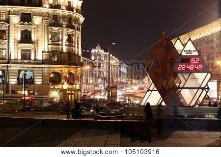 Moscow Oct 5:olympic Countdown Clock Time To The Xxii Olympic And Xi Paralympic Winter Games 2014 In