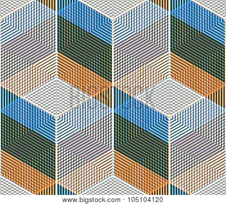Bright Symmetric Seamless Pattern With Interweave Figures. Vector Continuous Geometric Composition W