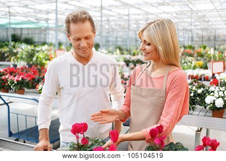 Professional florist selling flowers