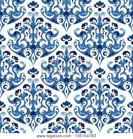 Seamless Blue Pattern. Vector Background With Ethnic Ornaments. Gzhel Style Design.