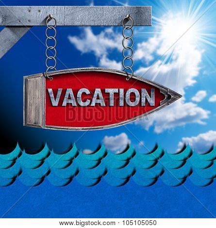 Vacation - Boat Directional Sign