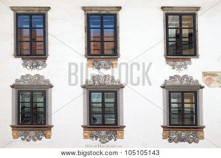 LJUBLJANA, SLOVENIA - JUNE 30: Windows of old house in Ljubljana, Slovenia on June 30, 2015