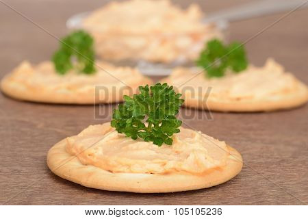 cracker with salmon pate on wood