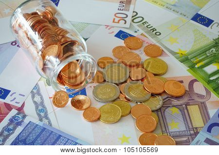 Small Glass With Coins