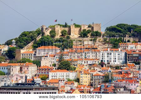 Lisbon Cityscape With Sao Jorge Castle, Portugal