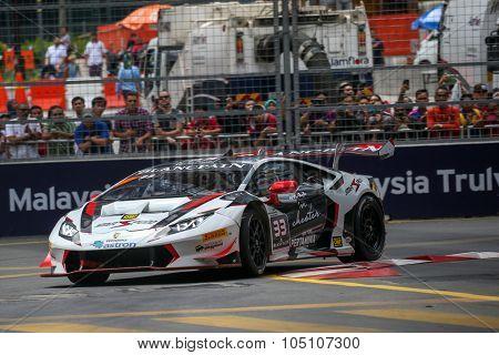 KUALA LUMPUR, MALAYSIA - AUGUST 08, 2015: Afiq Yazid drives a Lamborghini Huracan LP620 car races in the KL City GT CUP Race, at the 2015 Kuala Lumpur City Grand Prix.