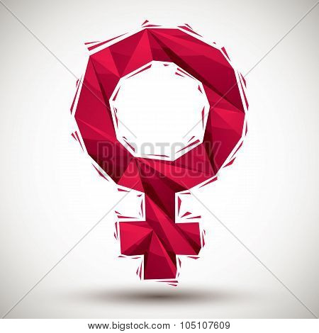 Vector  Female Sign Geometric Icon Made In 3D Modern Style, Best For Use As Symbol Or Design Element