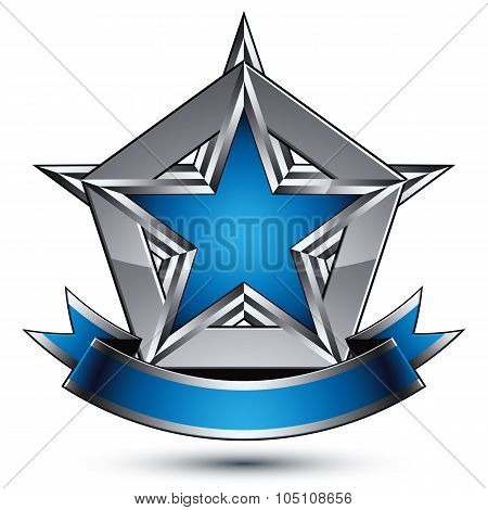 Vector Glorious Glossy Design Element, Luxury Blue 3D Star With Silver Outline, Conceptual Graphic T
