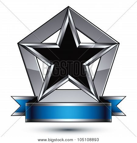 Vector Glorious Glossy Design Element, Luxury Black 3D Star With Silver Outline, Conceptual Graphic