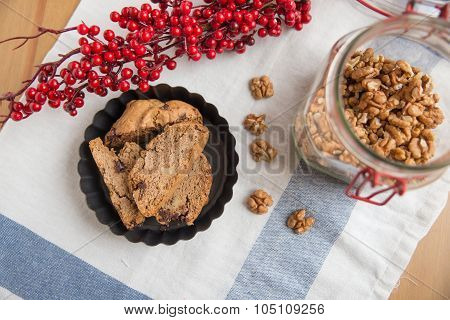 Italian Cantuccini cookies with walnuts and chocolat