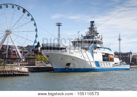 Finnish Offshore Patrol Ship Turva Moored In Port