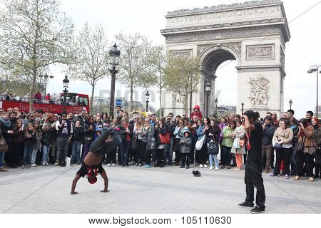 Paris - April 27: B-boy Doing Some Breakdance Moves In Front A
