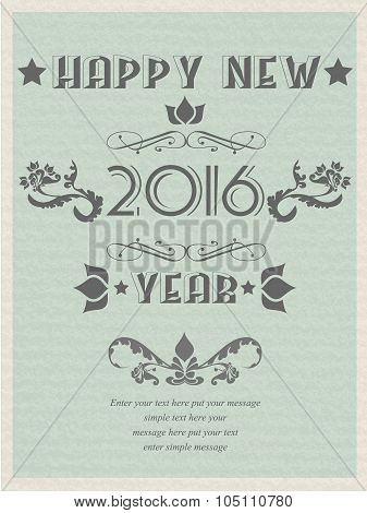 2016 Happy New Years Retro Poster Flayer Vintage