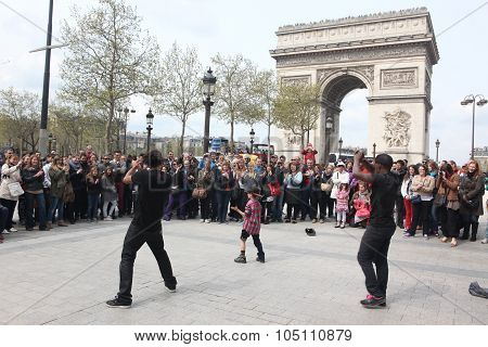 Paris - April 27:: B-boy Doing Some Breakdance Moves In Front A Street Crowd, At Arch Of Triumph, Ap