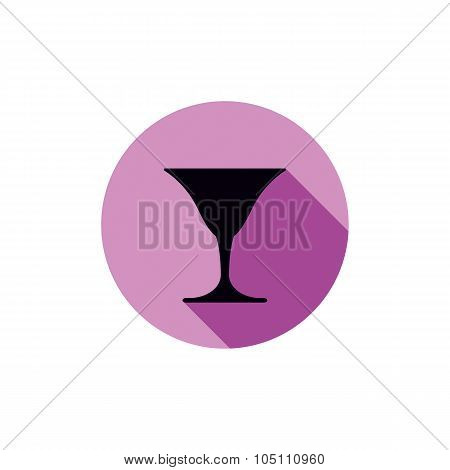 Vector Classic Full Martini Glass, Alcohol And Entertainment Theme Illustration. Party Lifestyle Gra