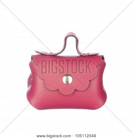 Scarlet Leather Bag Isolated On White