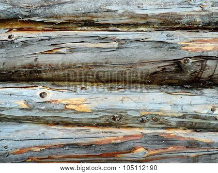 Dark Gray Uneven Wood Trunks In The Row