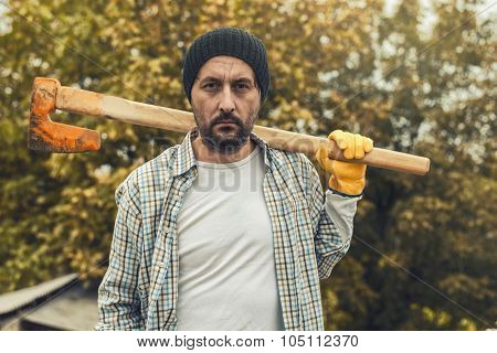 Confident Lumberjack With Axe