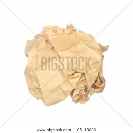 Vintage Crumpled Paper Isolated On White