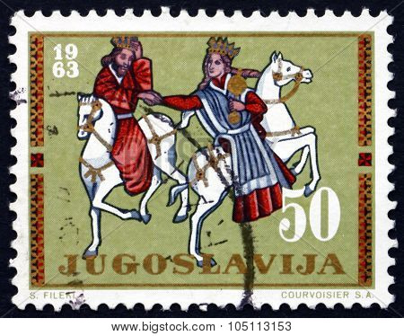 Postage Stamp Yugoslavia 1963 King And Queen On Horseback