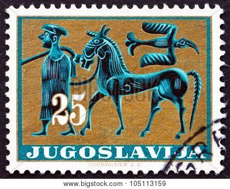 Postage Stamp Yugoslavia 1962 Horseman And Bird
