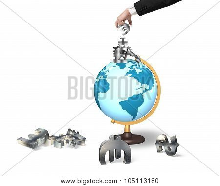 Businessman Hand Taking Money Symbols On Terrestrial Globe