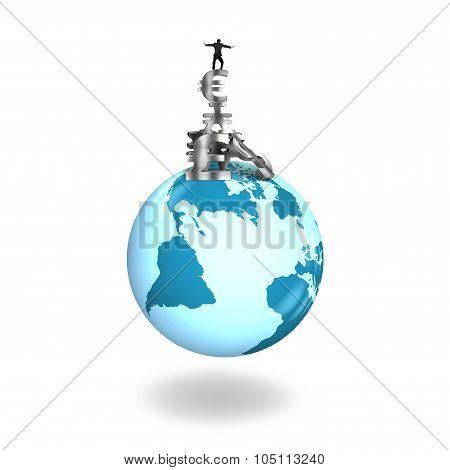 Man Balancing Stack Money Symbols On Globe World Map