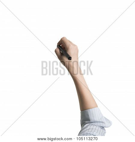 Woman Hand Holding Pen Writing Front View