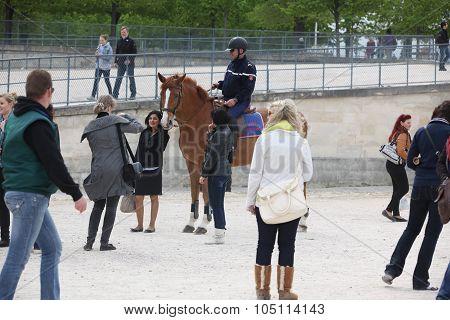 Paris - April 24:  Policeman In The Famous Tuileries Gard