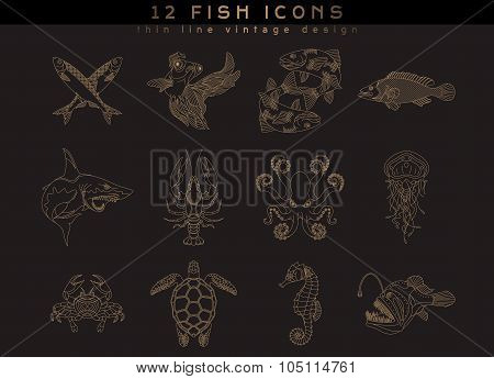 Fish And Sea Food Icons
