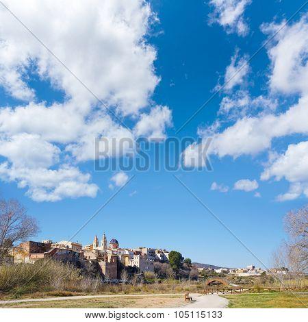 Ribarroja in Valencia parc de Turia skyline in winter sunny day
