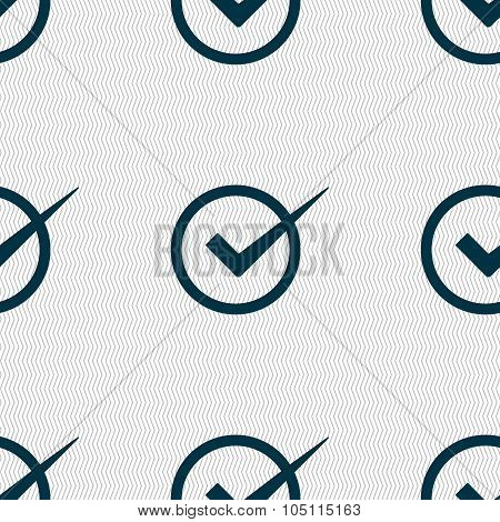 Check Mark Sign Icon. Checkbox Button. Seamless Abstract Background With Geometric Shapes. Vector