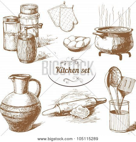 Set Of Kitchen Objects