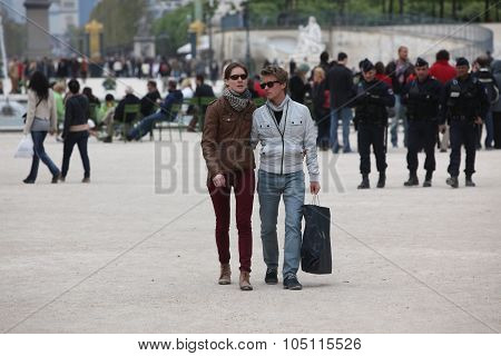 Paris - April 24: Local And Tourist In The Famous Tuileries Gard
